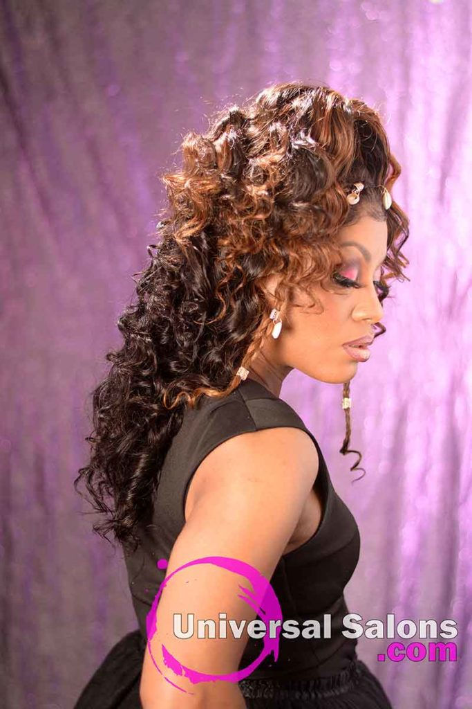 Right View: Curly Lace Wig Ponytail for Black Women