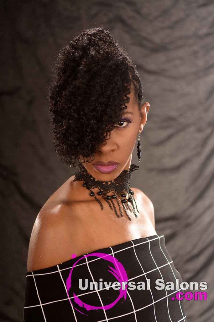 Front View: Curly Updo Hairstyle for Natural Hair