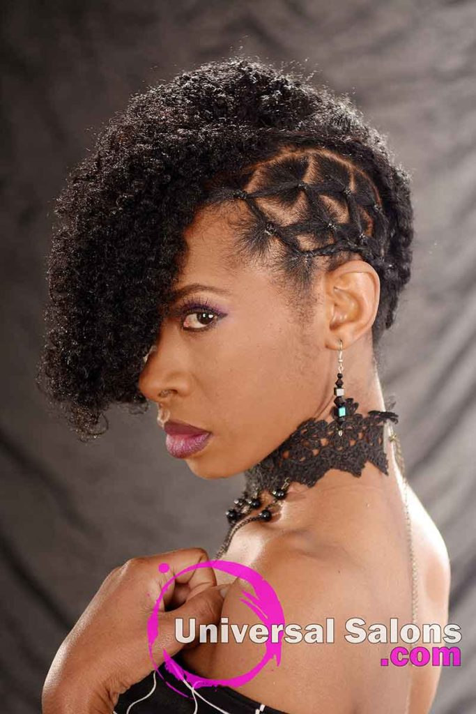 Left View: Curly Updo Hairstyle for Natural Hair