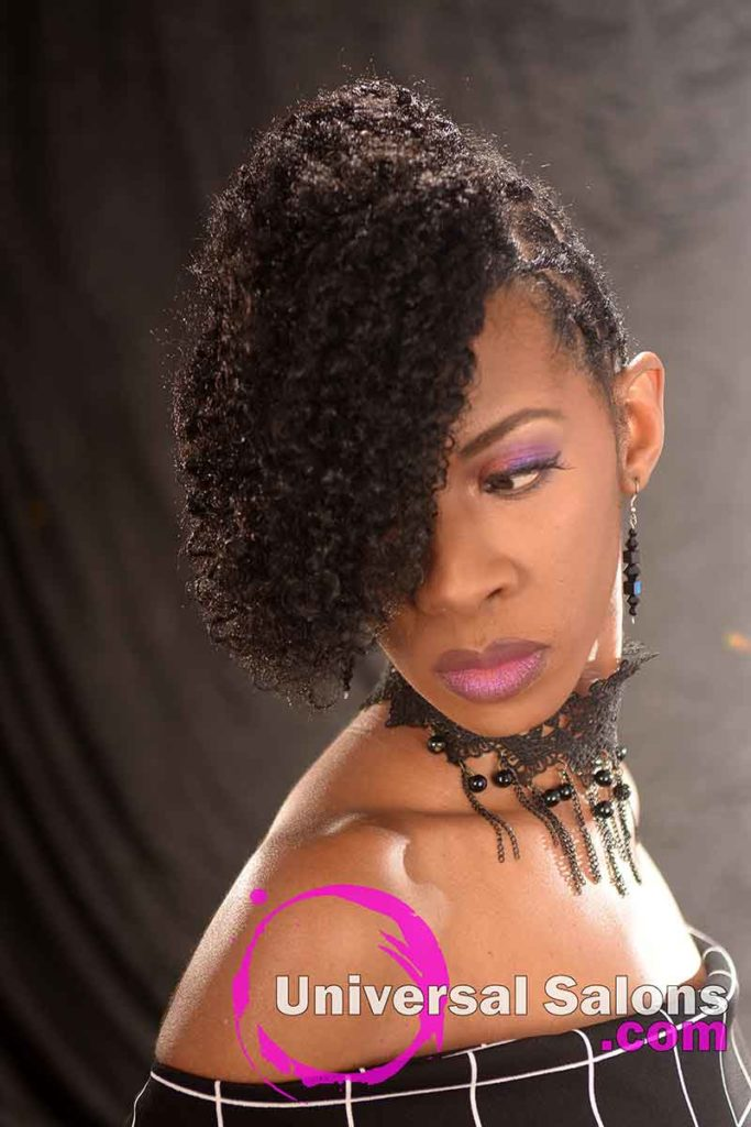 Front Look Down: Curly Updo Hairstyle for Natural Hair