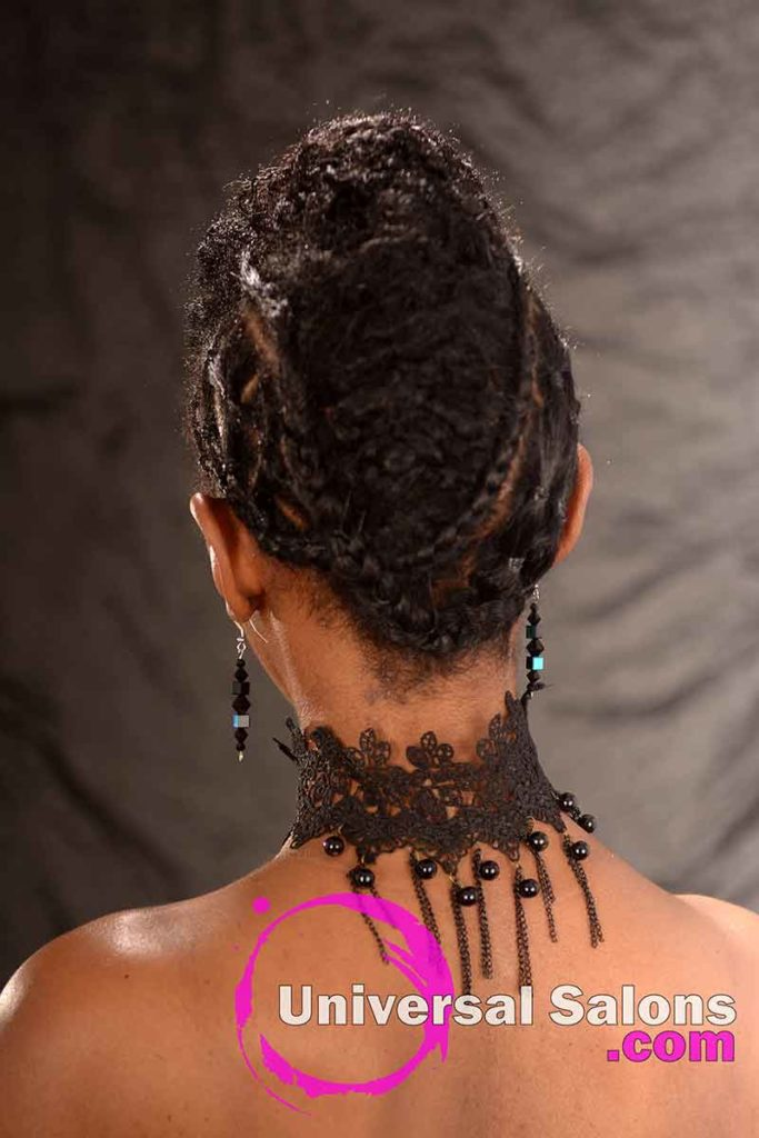 Back View: Curly Updo Hairstyle for Natural Hair