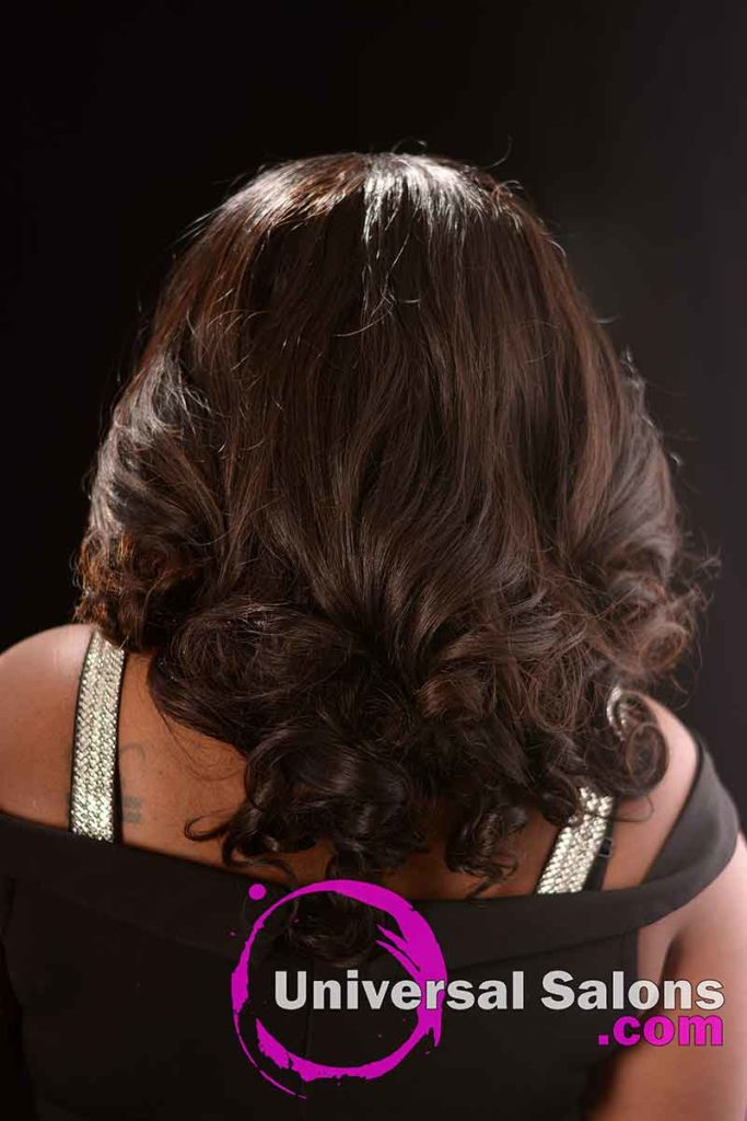 Back View: Long Body Wave Hairstyle with a Middle Part
