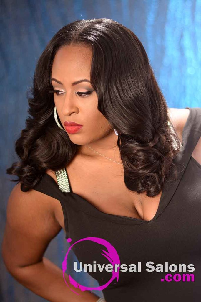 Right View: Long Body Wave Hairstyle with a Middle Part