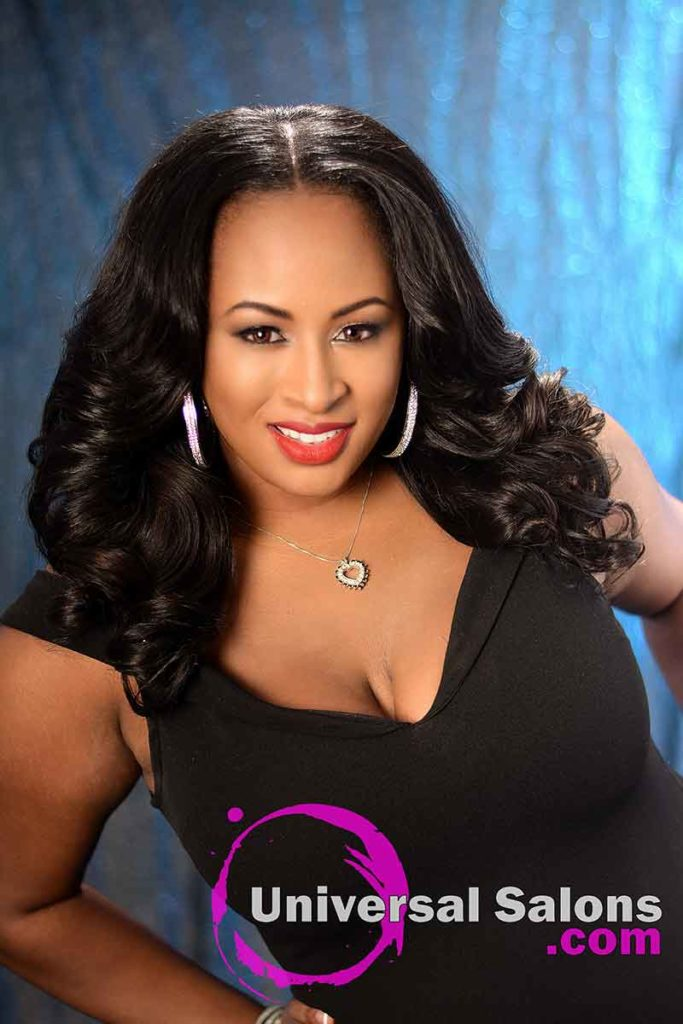 Front view: Long Body Wave Hairstyle with a Middle Part