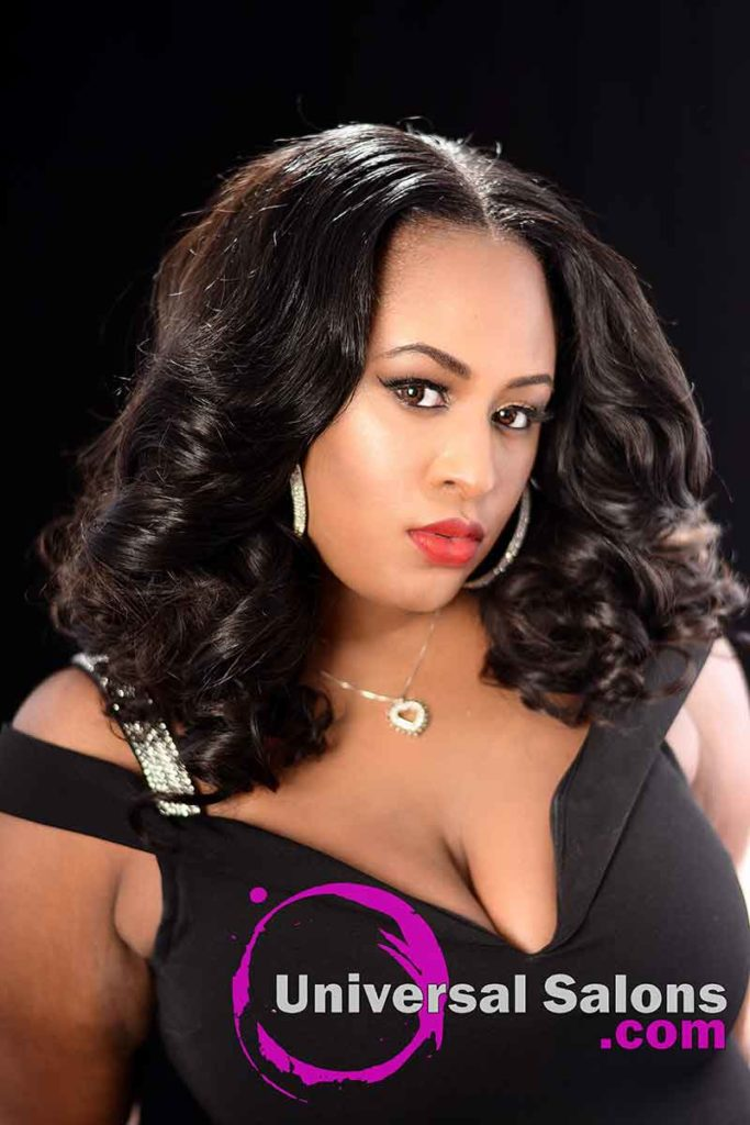 Front Left View: Long Body Wave Hairstyle with a Middle Part