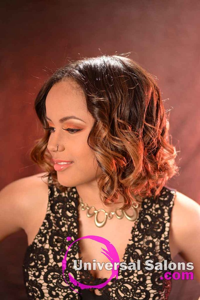 Right View: Medium Length Curly Bob Hairstyle with Highlights