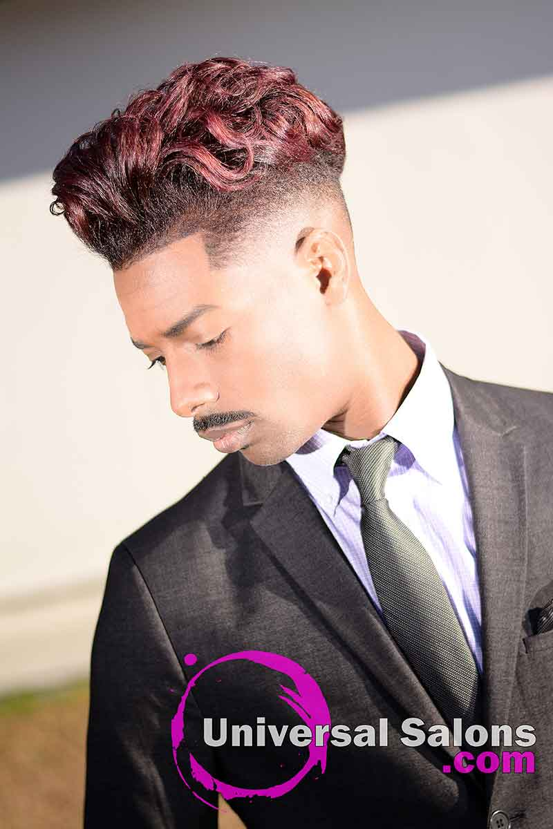 Men's Fade Haircut with Ocean Waves