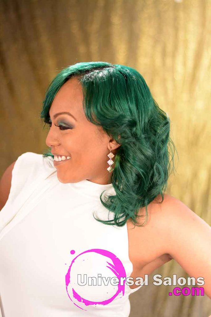 Left View: Emerald Green Hair Color on Natural Hair