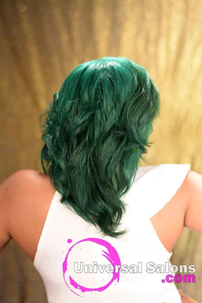 Back View: Emerald Green Hair Color on Natural Hair