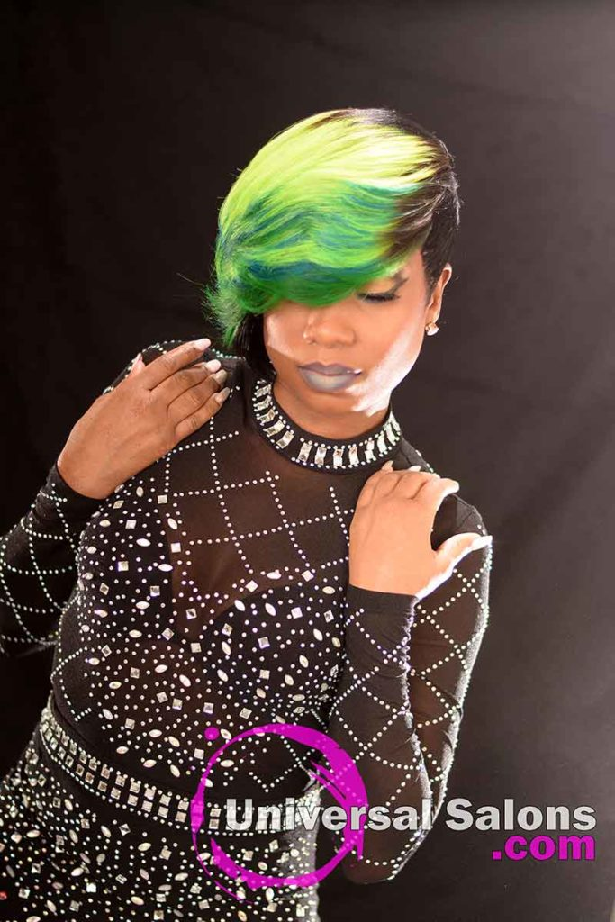 Look Down: Bold Lime Quick Weave Hairstyle from Constance Purnell in Columbia, SC