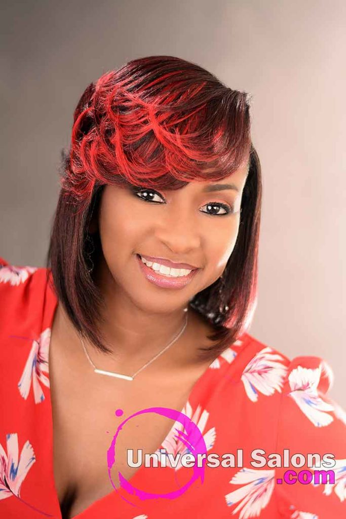 Front View: Elegant Bob Hairstyle for Black Women by Deedra Mcleod in Hartsville, SC