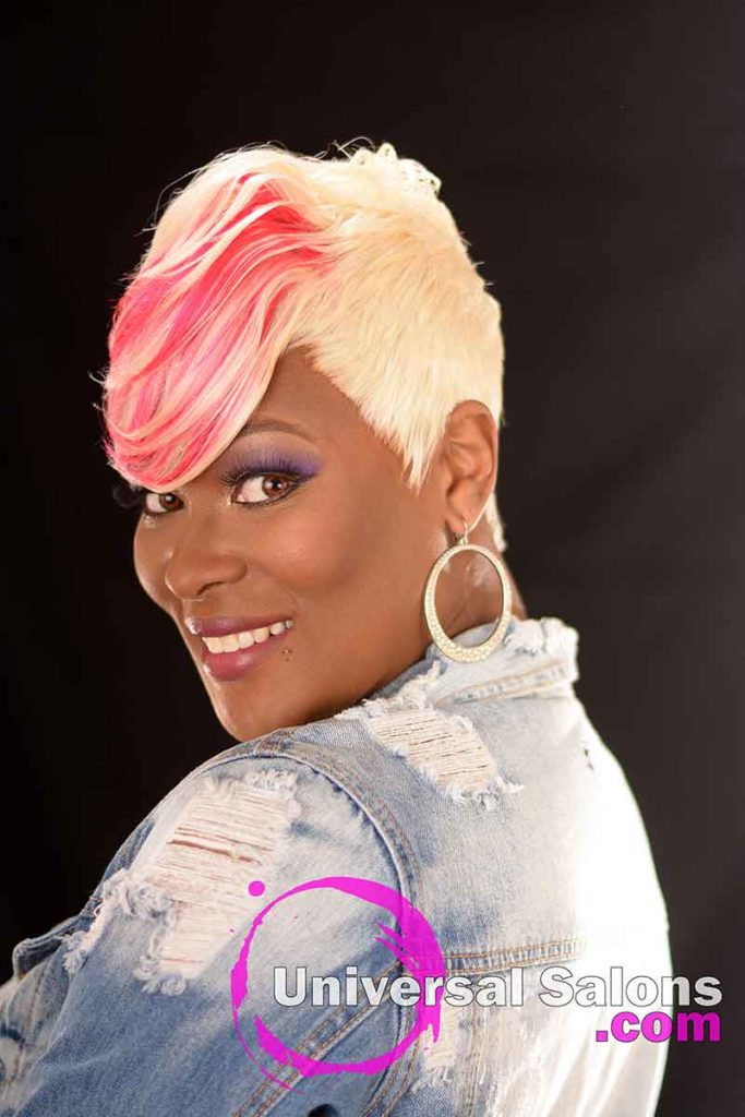 Left View: Platinum Blonde Quick Weave Hairstyle from Carla Harris in Columbia, SC