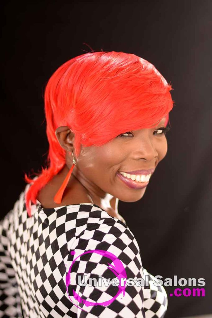 Left View: Fire Red Quick Weave Hairstyle from Yvette Alston in Columbia, SC