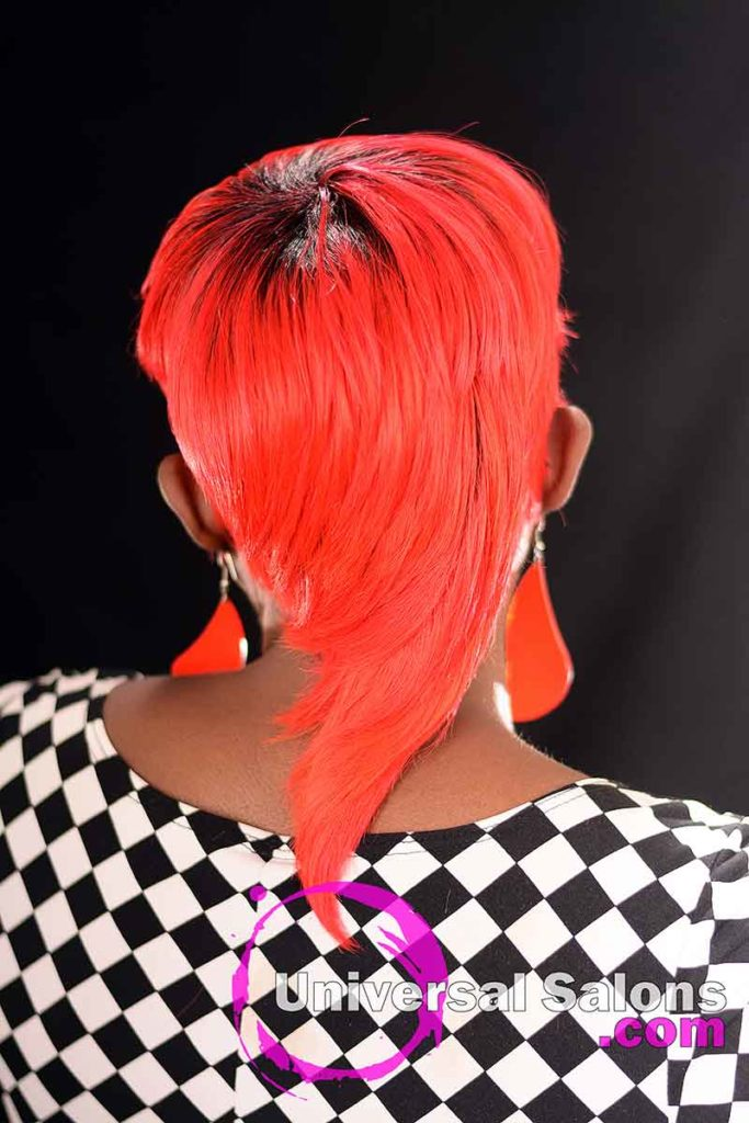 Back View: Fire Red Quick Weave Hairstyle from Yvette Alston in Columbia, SC