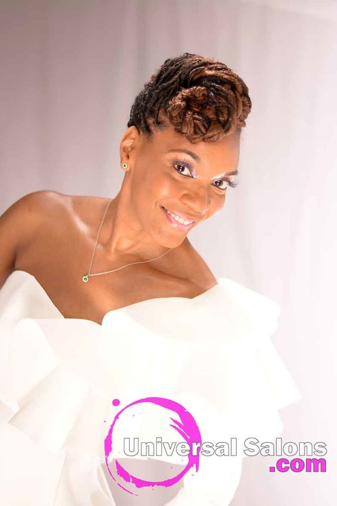 Right Front View: Niva Grimball Created One of Charleston, SC's Top Loc Updo Hairstyles