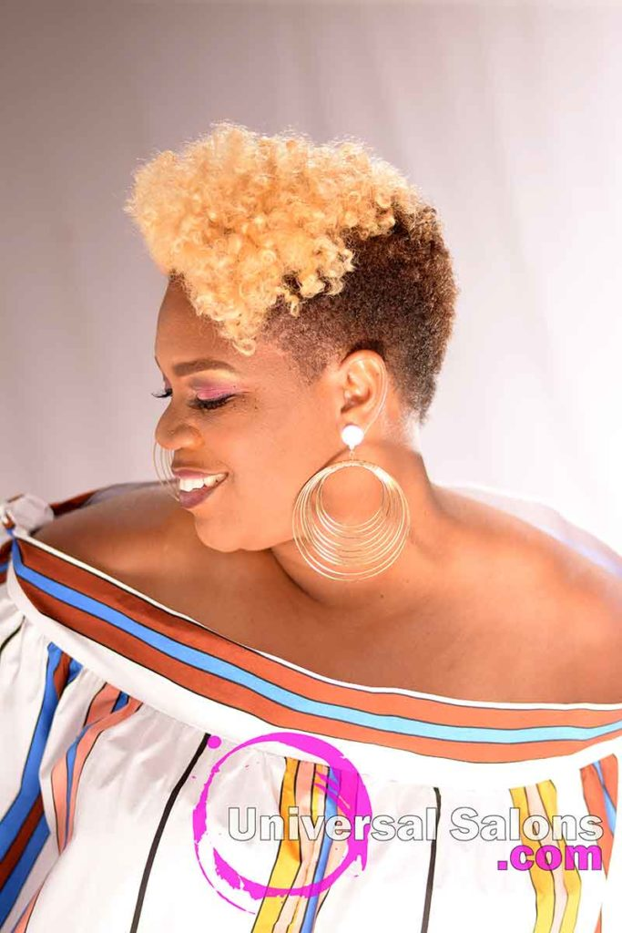 2nd Left View: Brassy Blonde Curly Hair Mohawk from Brenda Barron in Charleston, SC