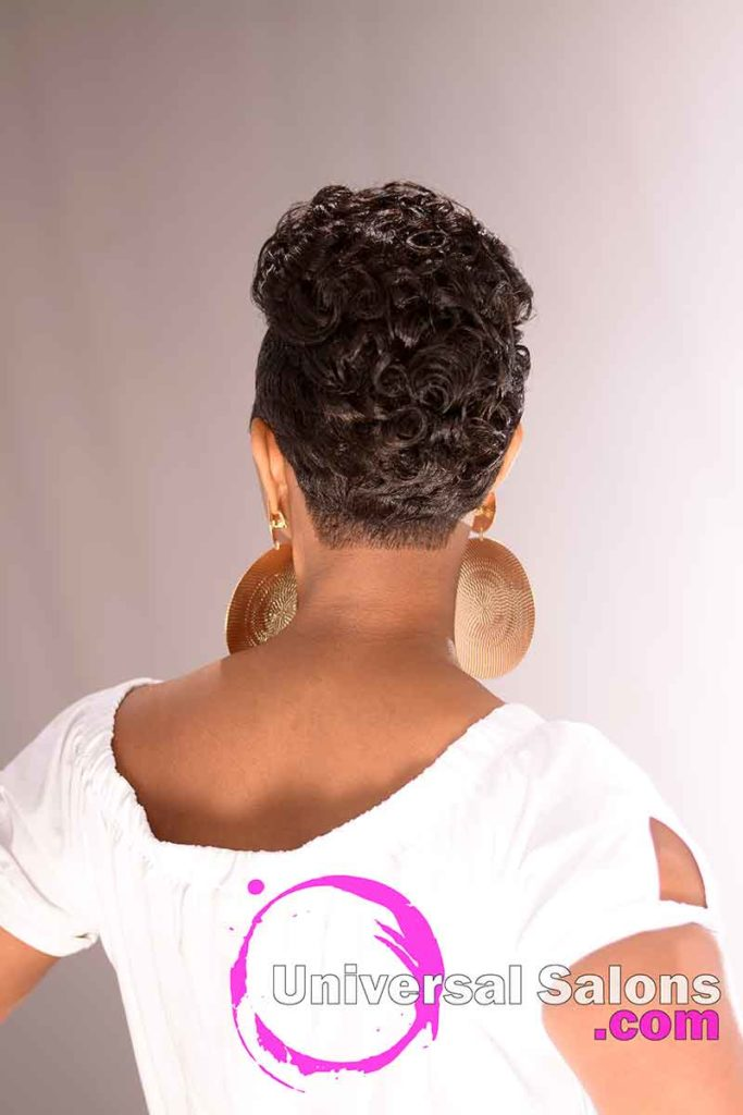 The Back View of a Short Hairstyle for Black Women with Tight Curls