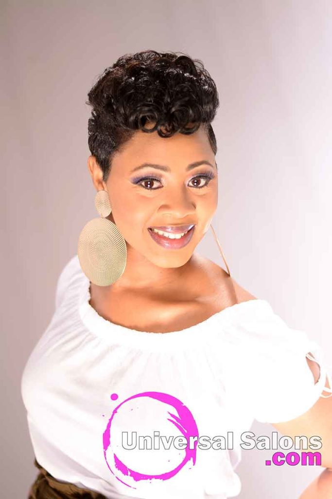 Smiling Model with a Short Hairstyle for Black Womern