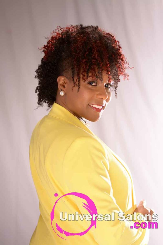 View of the Right Side of a Curly Mohawk Hairstyle with Hair Color