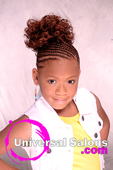 Little Girl Model With Cornrows With a Curled Bun