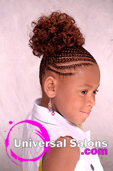Right View: Cornrows With a Curled Bun