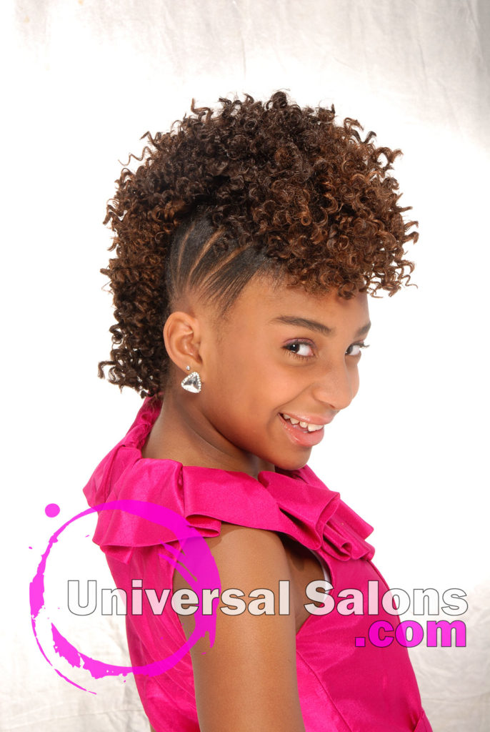 Right View: Curly Mohawk Updo Black Hairstyles for Little Kids