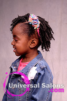 Left Side Model Cute Tight Curls Black Hairstyle for Little Girls