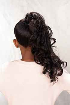 Back View Elegant Updo Hairstyle with Soft Curls