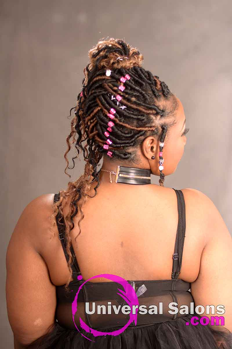 A View of the Rightt and Back of a Goddess Locks Updo Hairstyle