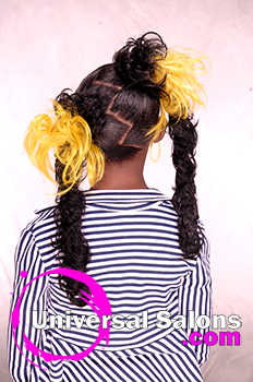 Back View of Pigtail Twists With Flared Out Pom Poms