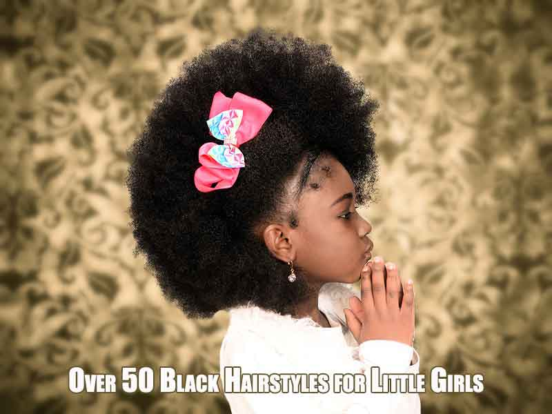 Model With an Afro and Braid Black Hairstyles for Little Girls