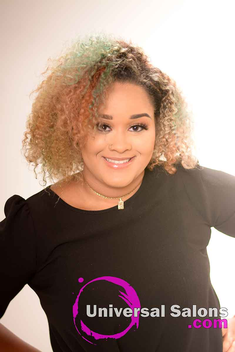 Model Wearing a Natural Braid Out Hairstyle with Vivid Hair color