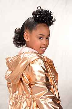 Right View: Model With a Curly Bun Hairstyle