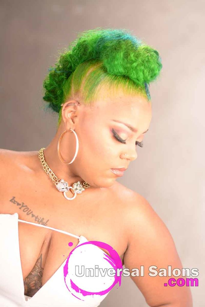 Right Side of a Custom Color Natural Mohawk Updo Hairstyle
