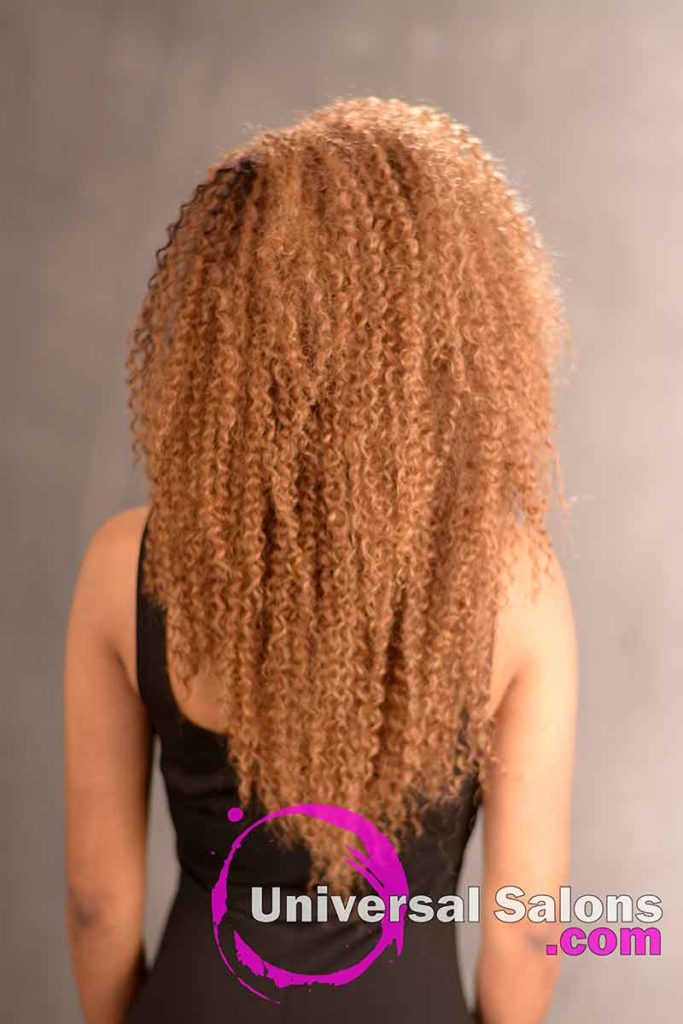Back View of a Long Curly Sew In Hairstyle