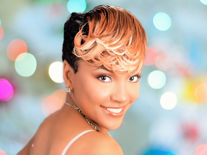 Bold Pin Curl Hairstyle With Custom Hair Color