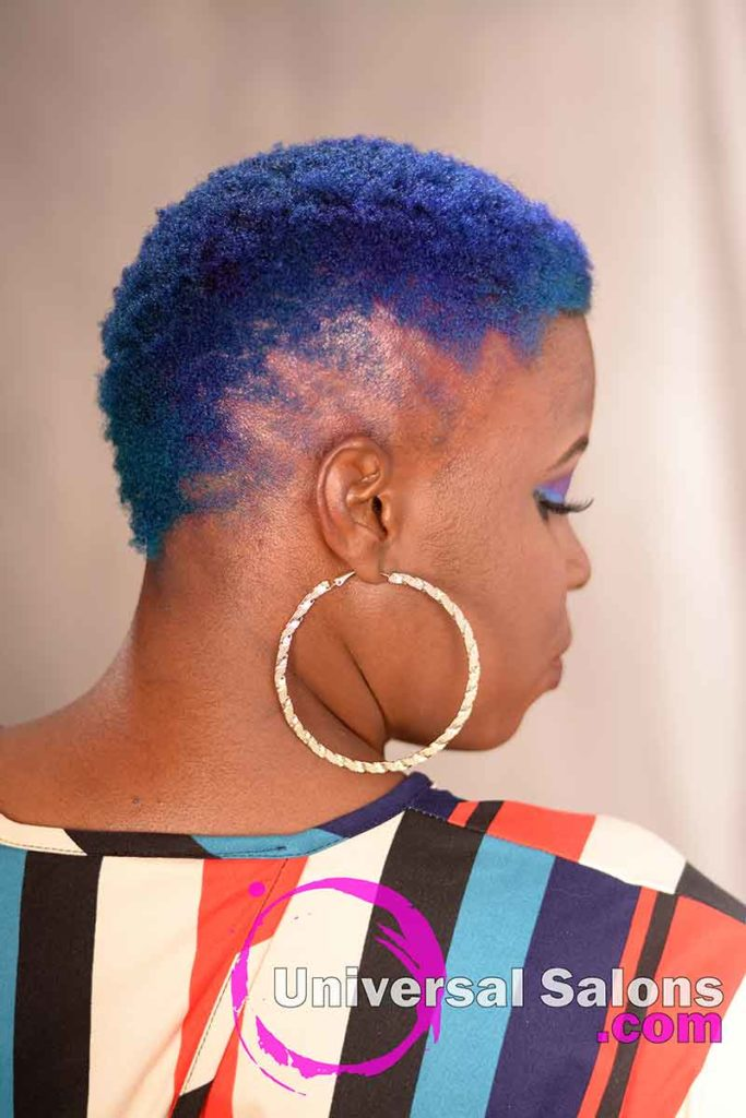 Back Right View Short Natural Hair With Color and Brush Cut