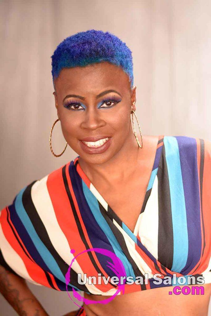 Deep Blue Brush Cut Hairstyle for Black Women
