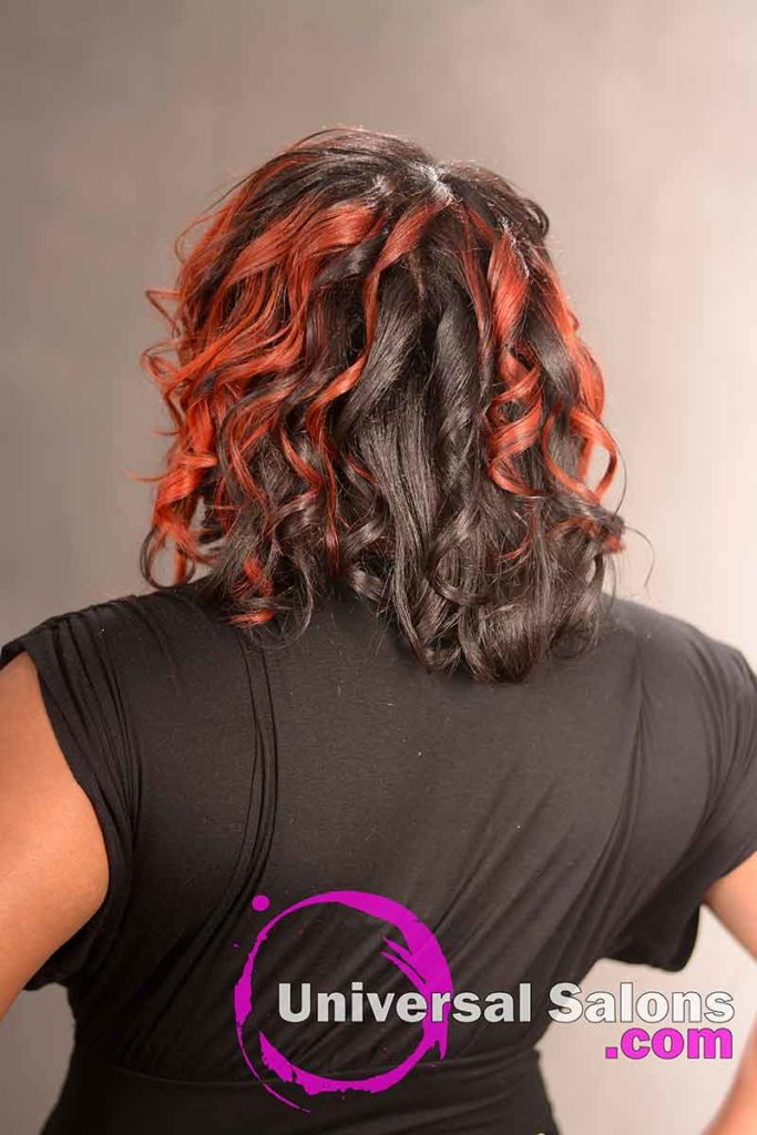 Back View Curly Red Ombre Hairstyle