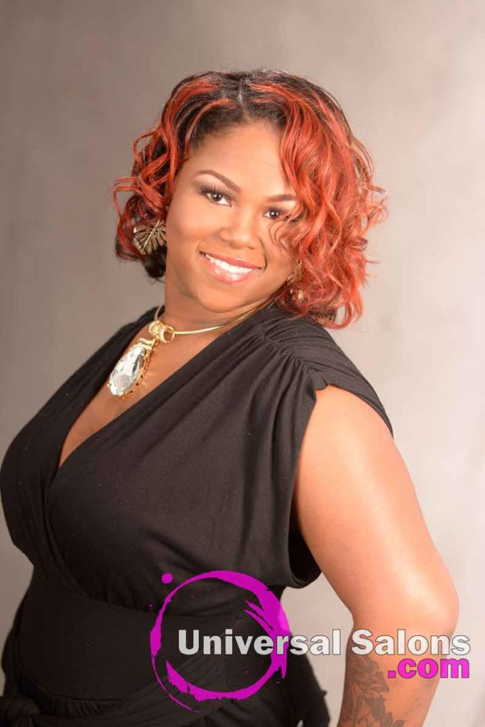 Mid-Length Curly Red Ombre Hairstyle for Black Women
