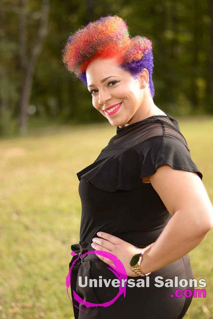 Short Rainbow Hair Color on Natural Hair in Greensboro, NC