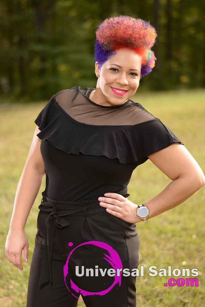 Model With Hand on Hip With a Short Rainbow Hair Color