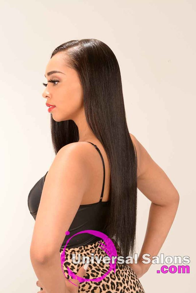 Back View of a Long Silk Press Hairstyle