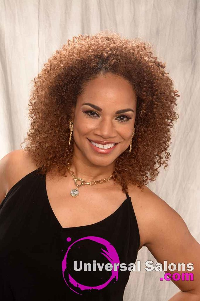 Long Curly Crochet Hair Model Smiling