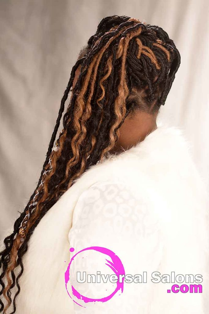 Back View of a Ombre Godess Locs Hairstyle
