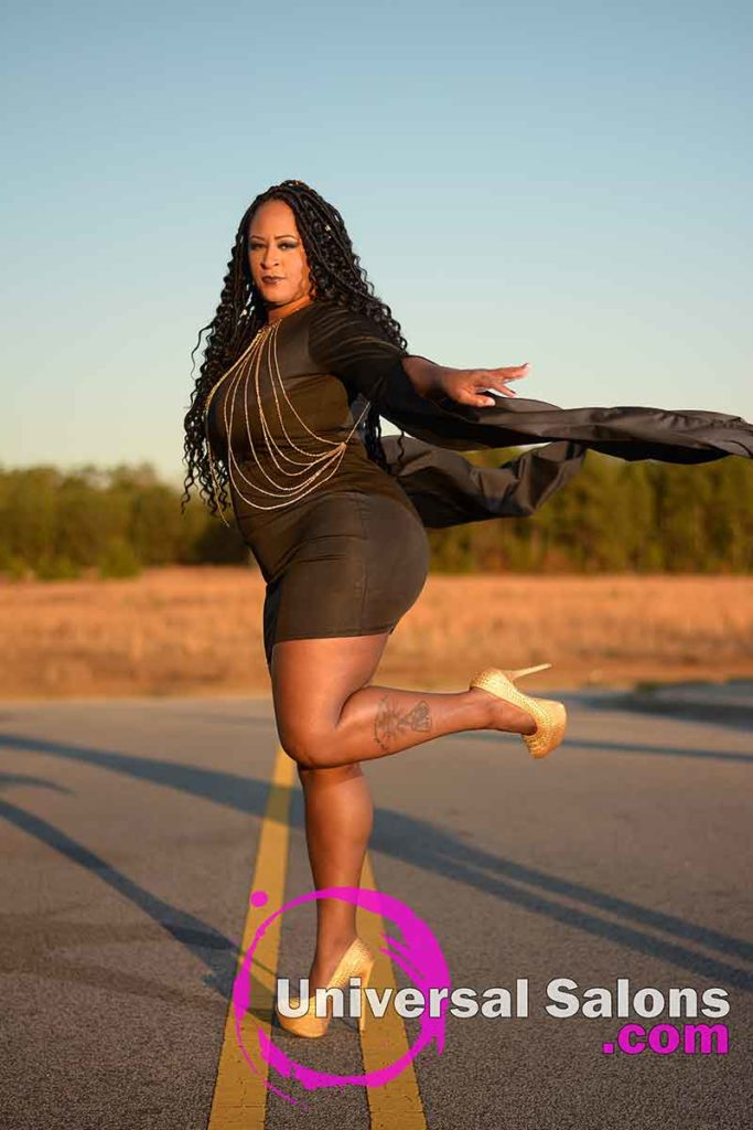 Model With Leg Up Wearing Long Goddess Locs