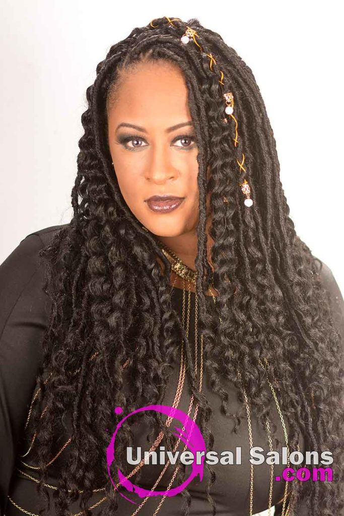 Long Goddess Locs Hairstyle With Accents