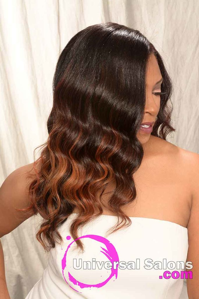 Right View of Long Balayage color Technique