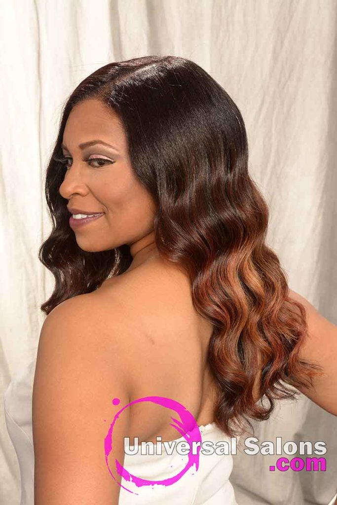 Left View of a Long Balayage Hair Color