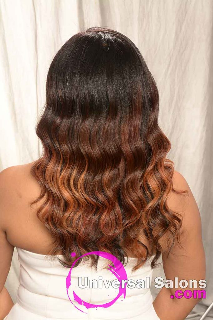 Back View of a Long Hairstyle for Black Women with Hair Color